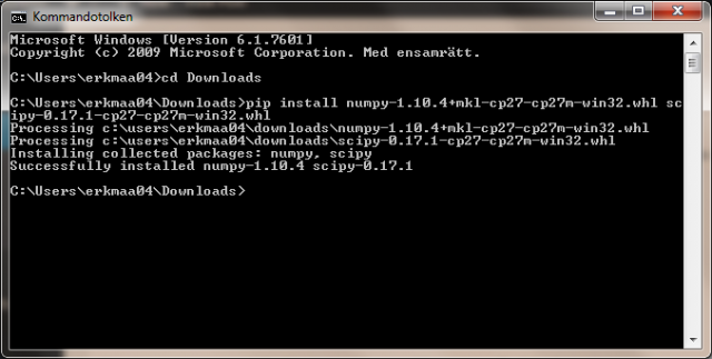 Open the command prompt, change directory to where the files were downloaded and install the packages using Pip.